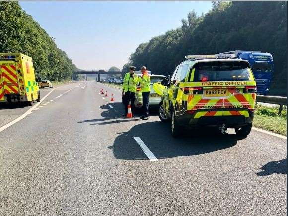 Crash near Gillingham on M2 coastbound at junction 4 for the
