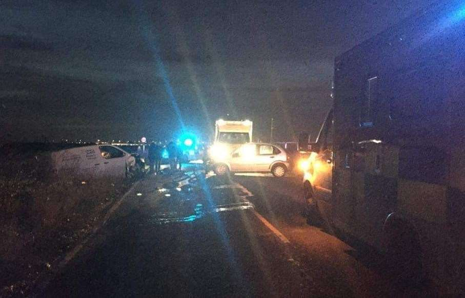 Emergency services dealing with the aftermath of the crash. Picture: Tony Jayes