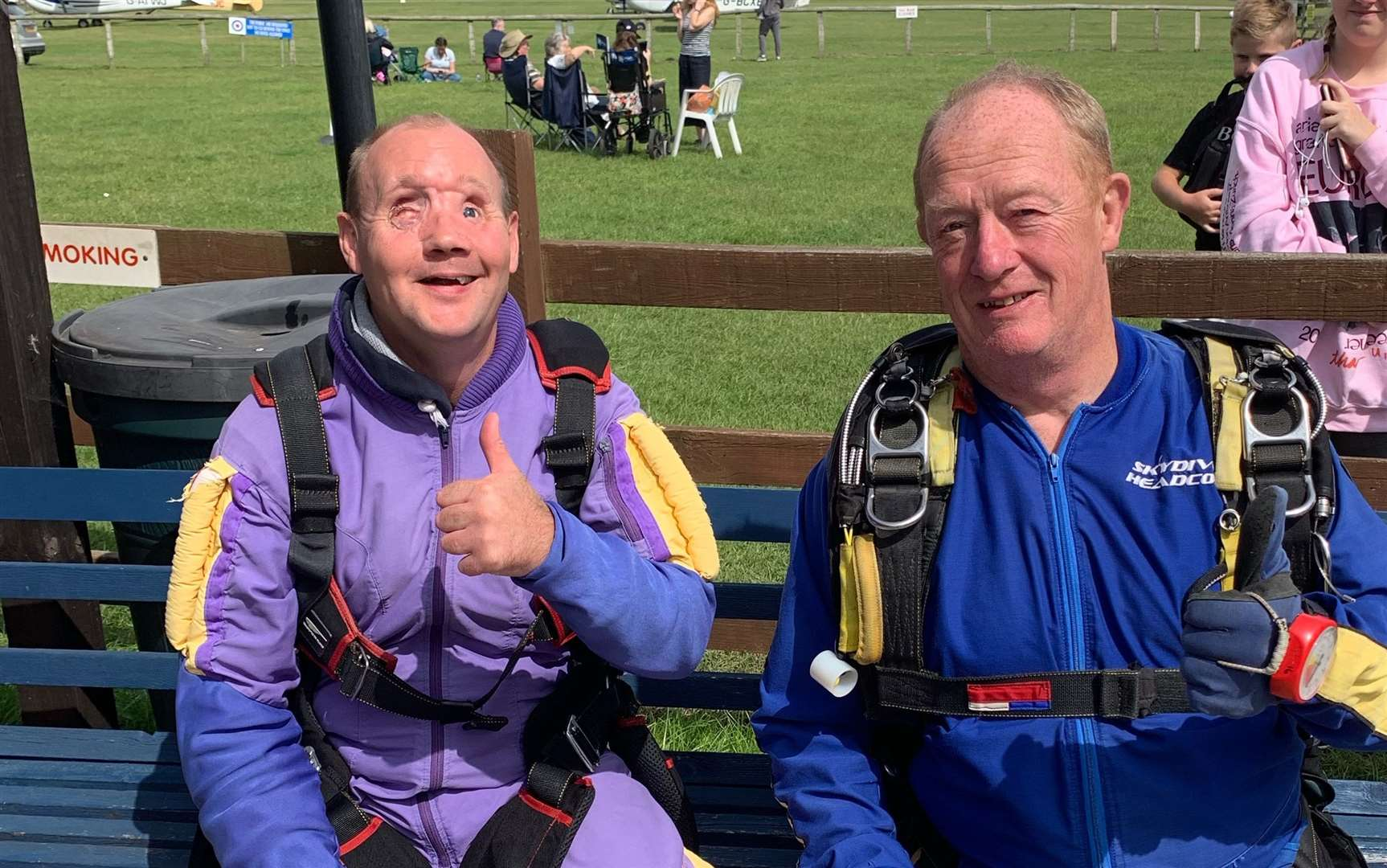 Andrew Foster with his sky dive instructor Dave
