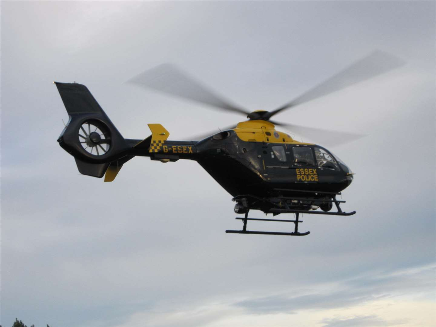 The police helicopter joined officers on the ground in search for man in Thanet