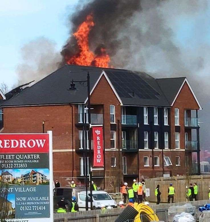 The fire at Redrow's Ebbsfleet Quarter was started by a solar panel.