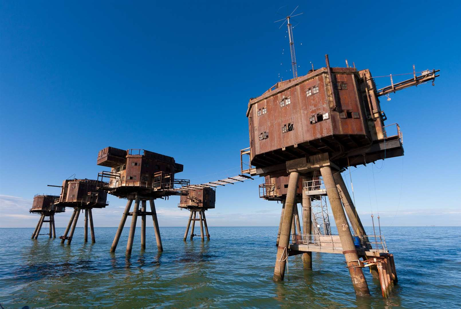 The Maunsell Forts off the Kent coast