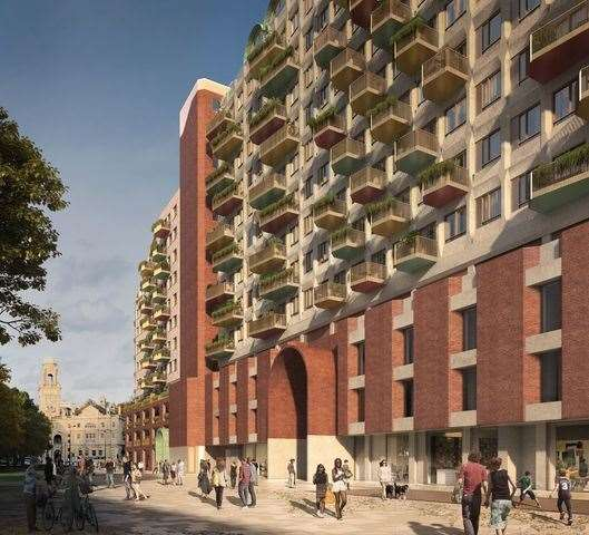 Designs have been put forward to turn the disused office in Military Road into apartments. Picture: Lyall Bills & Young Architects and C.F. Møller Architect