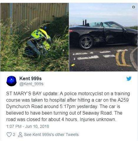 Kent999 tweeted the image of the motorcycle and car after the crash. Credit: Kent999 (2461099)