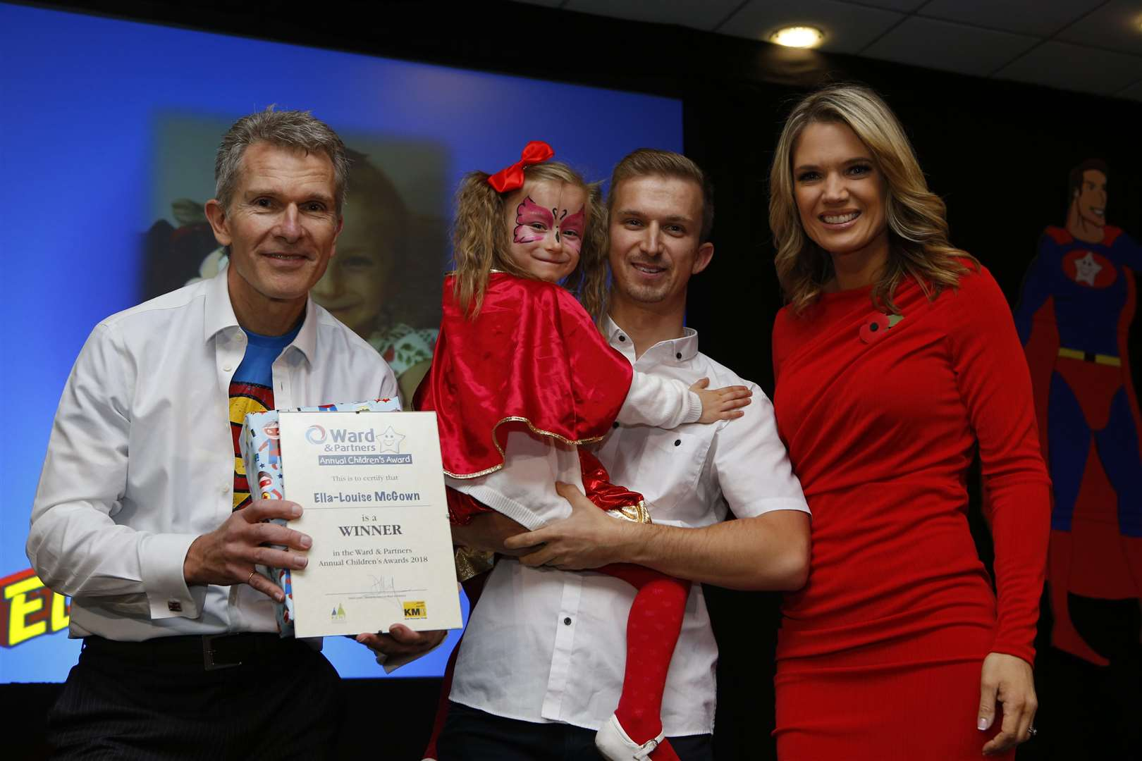 Ella-Louise McGowan, who also won Triumph Over Adversity for children up to 5 years old, with managing director for West Kent Lee Crane (Left) and Charlotte Hawkins