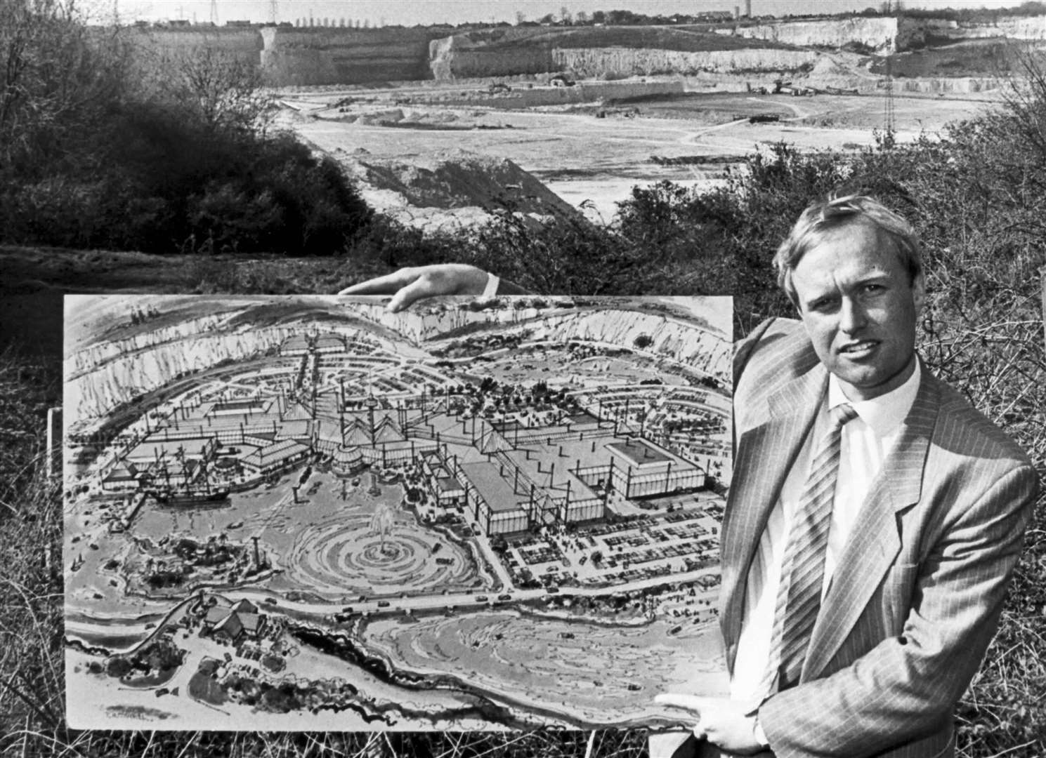Tim Hook, project manager of the then Blue Water Park with plans for the supercentre in the quarry site, on April 14, 1988.