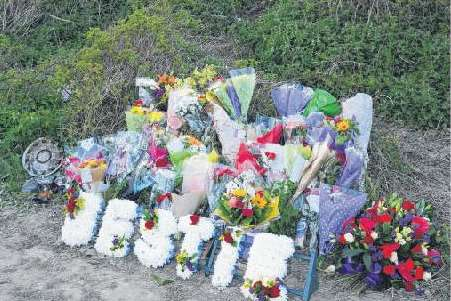 Tributes at the scene of the accident