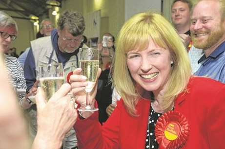 Rosie Duffield celebrates her shock victory