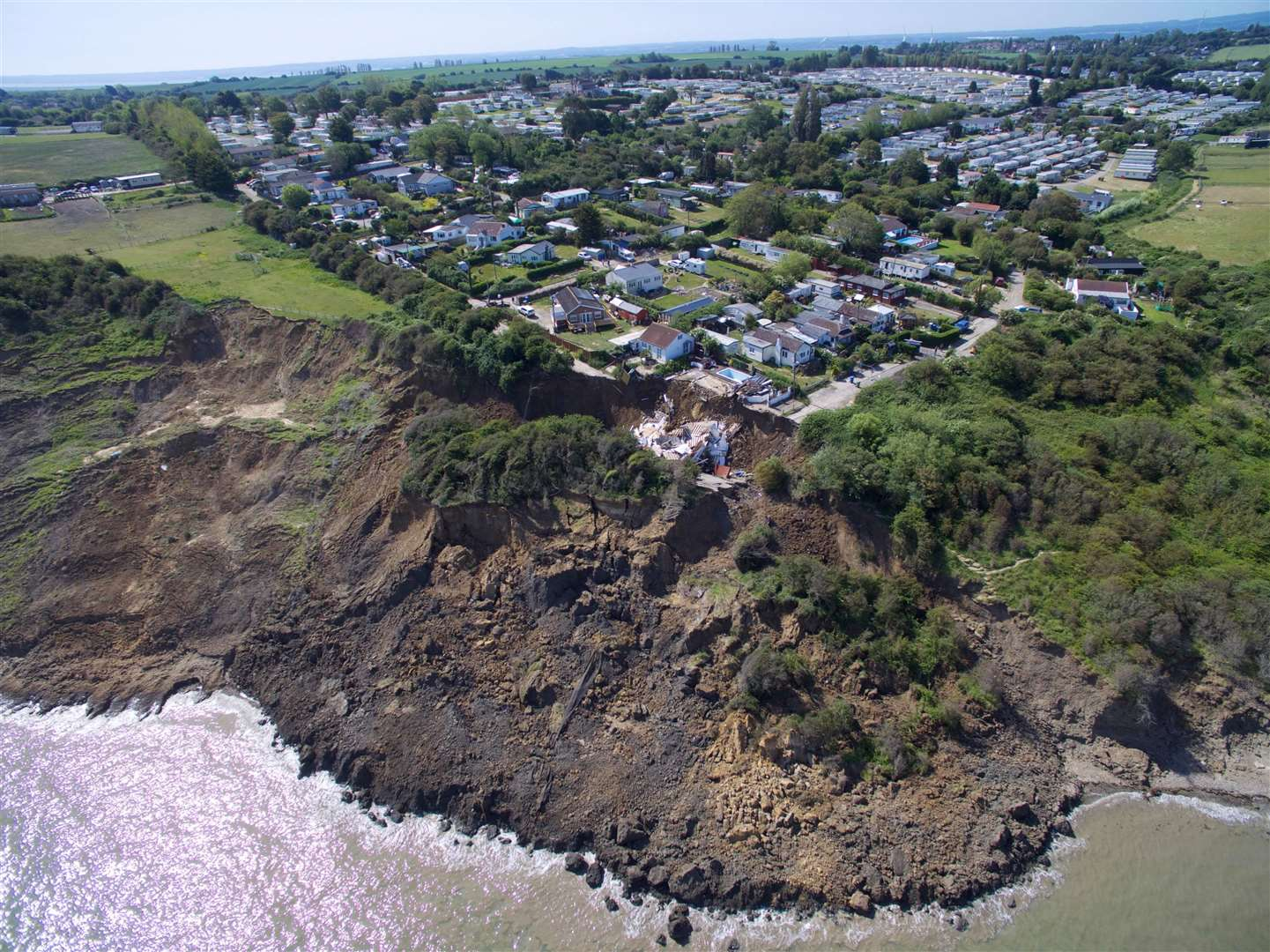 Aerial images show how much of the cliff has fallen away. Picture: RLH Media