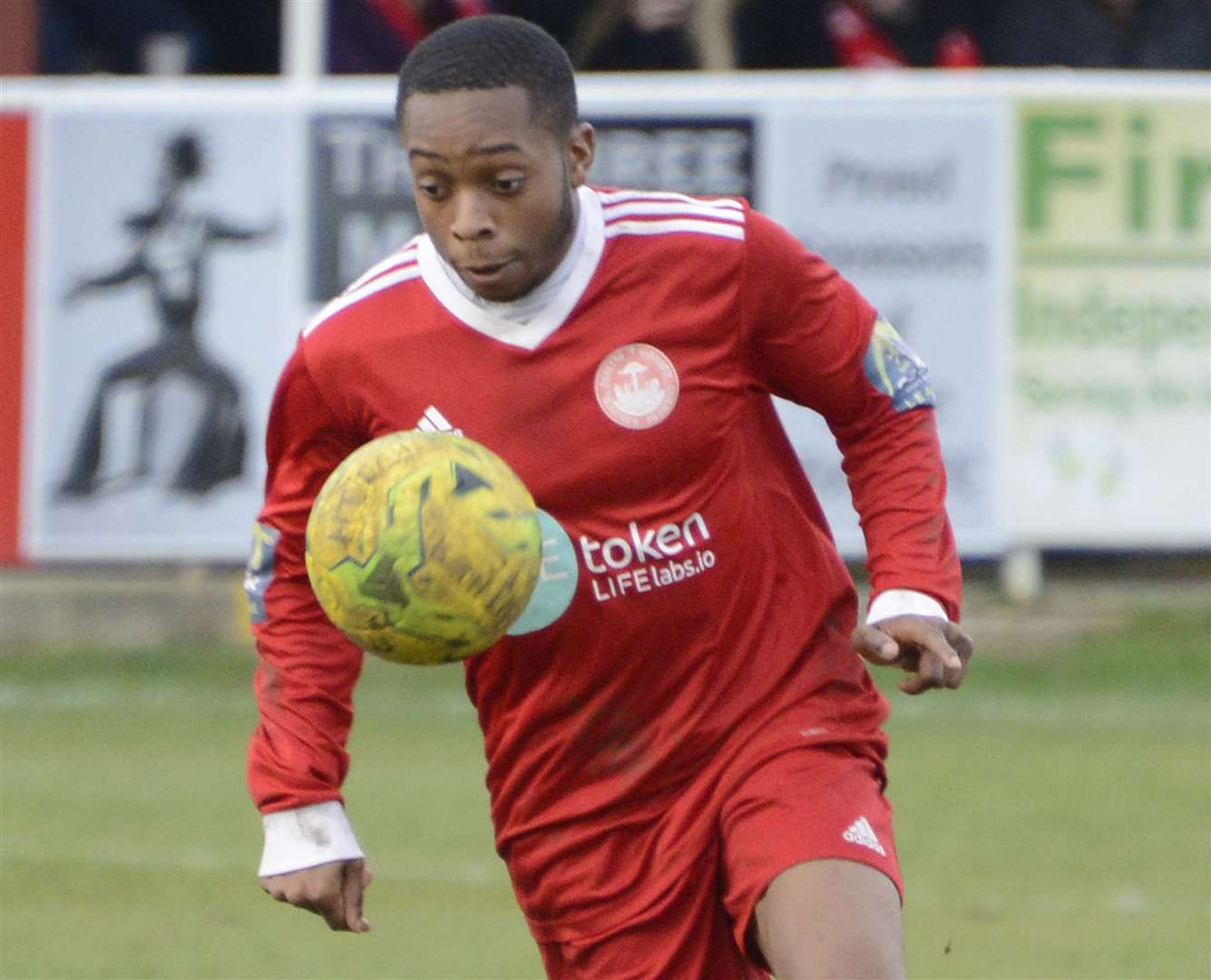Hythe winger Kieron Campbell Picture: Paul Amos