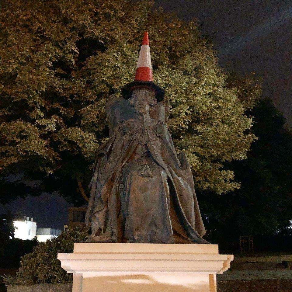 The Queen's statue was unveiled on Thursday, and found with a cone on her head the next day. (3368804)