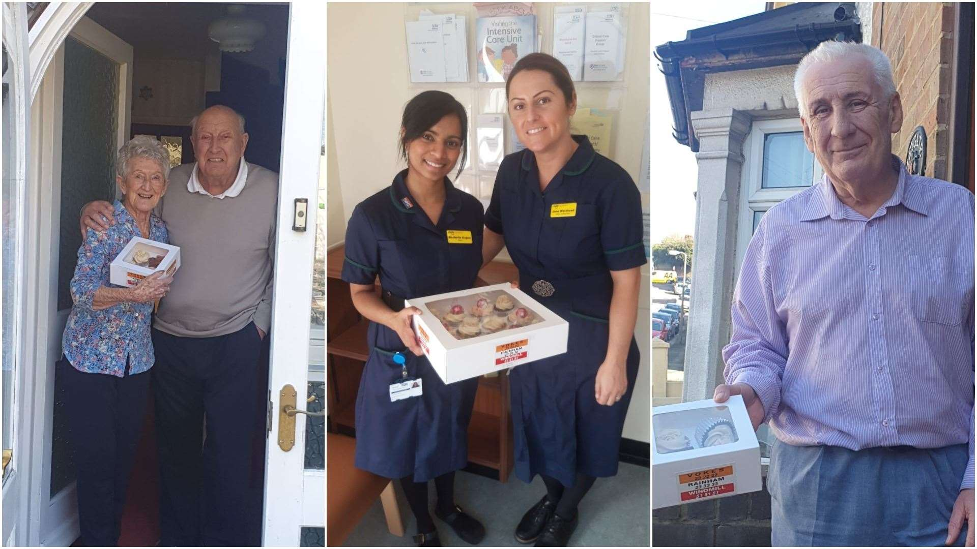 Some of the recipients of the cake giveaway run by Vokes, Rainham and Windmill Taxis