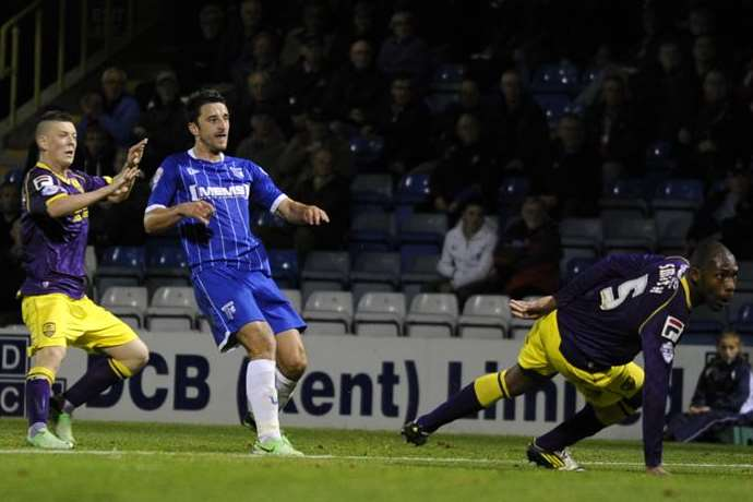 Chris Whelpdale opens the scoring for Gills. Picture: Barry Goodwin