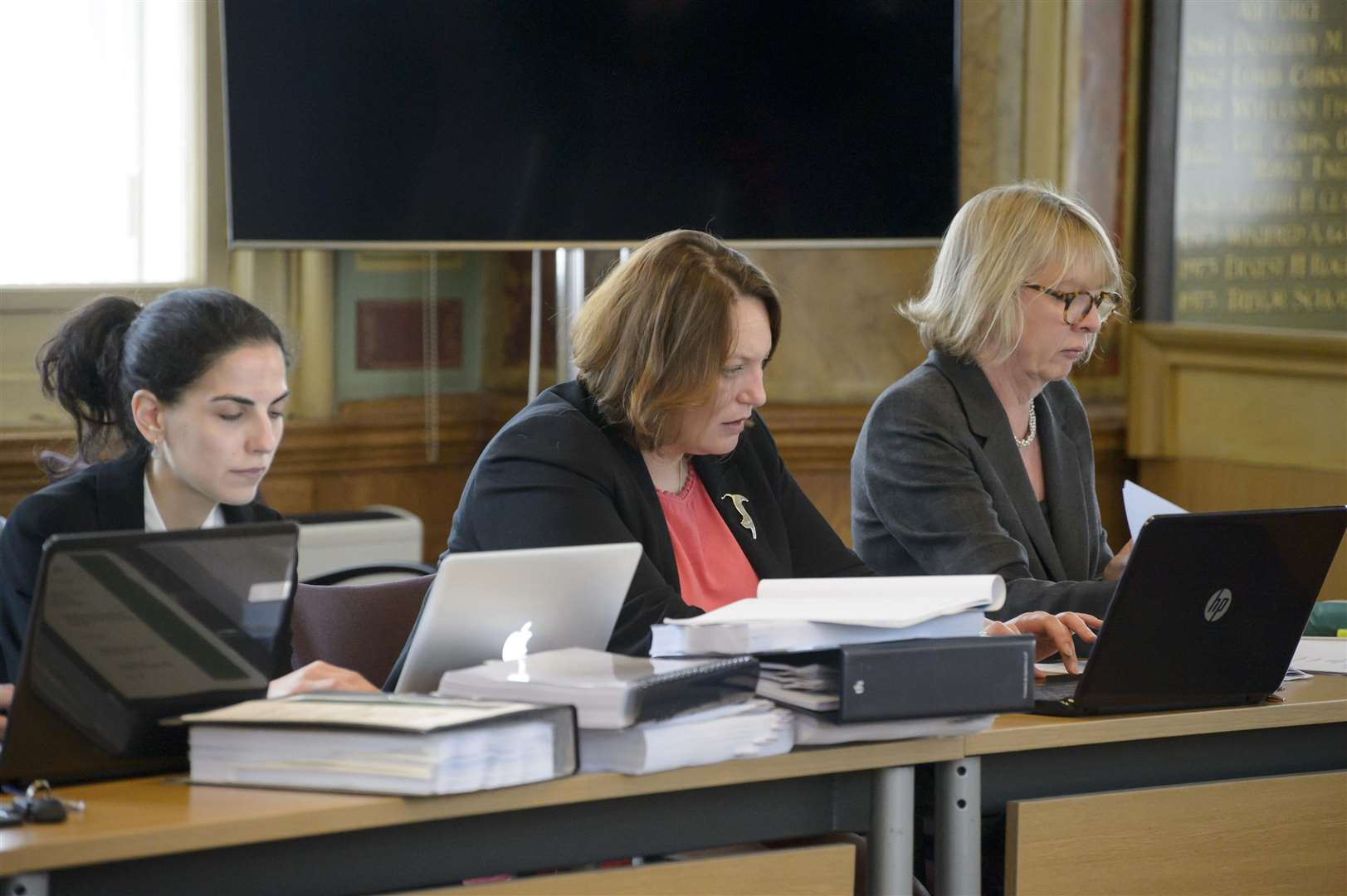 Lisa Busch QC, for the Academies Trust, right and planning consultant Elizabeth Fitzgerald centre.Opening of the public inquiry into the proposed Maidstone School of Science and Technology, held at Maidstone town hall, High Street, Maidstone.Picture: Andy Payton (2158021)