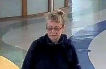 A CCTV image of Sheila Ratcliffe in the William Harvey on the day she went missing