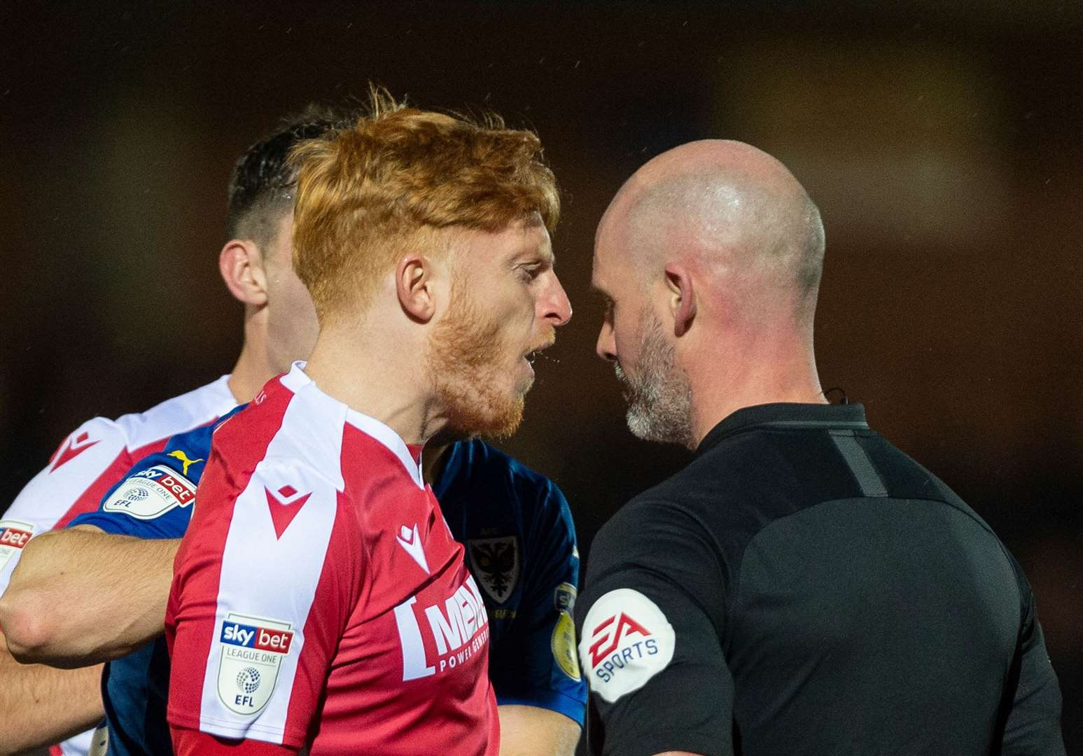 Ben Pringle was sent off for confronting referee Kevin Johnson at AFC Wimbledon Picture: Ady Kerry