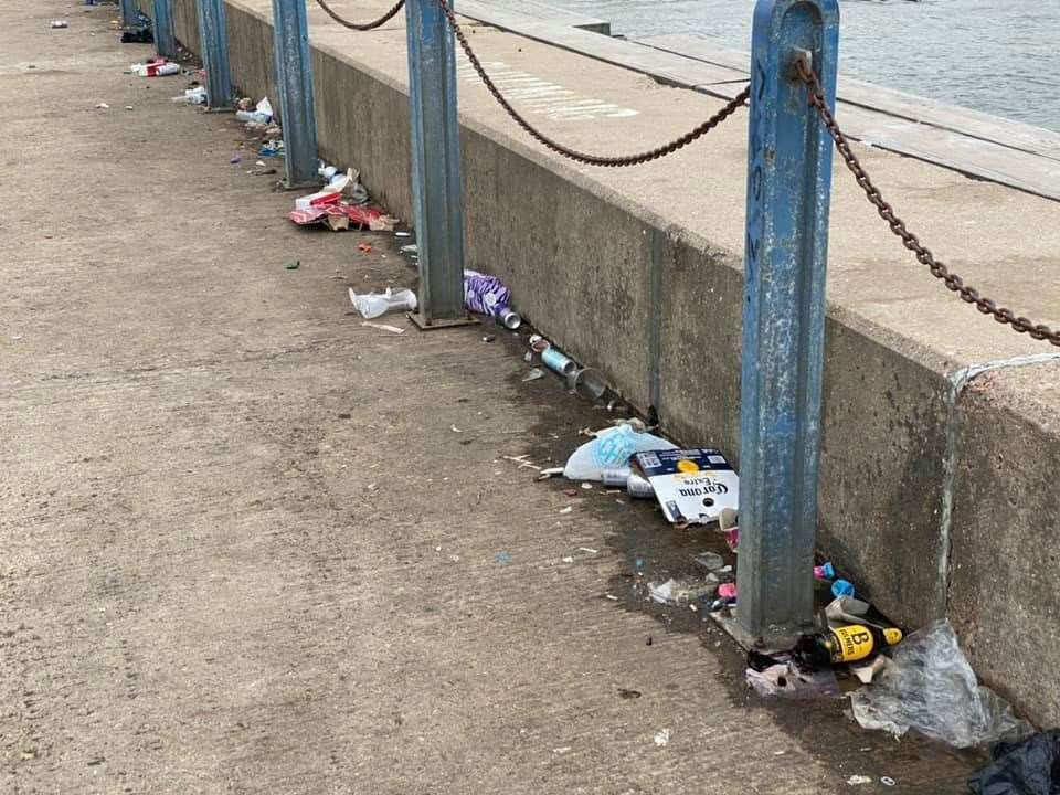 Litter at the west quay this weekend. Picture: Andrew Berry