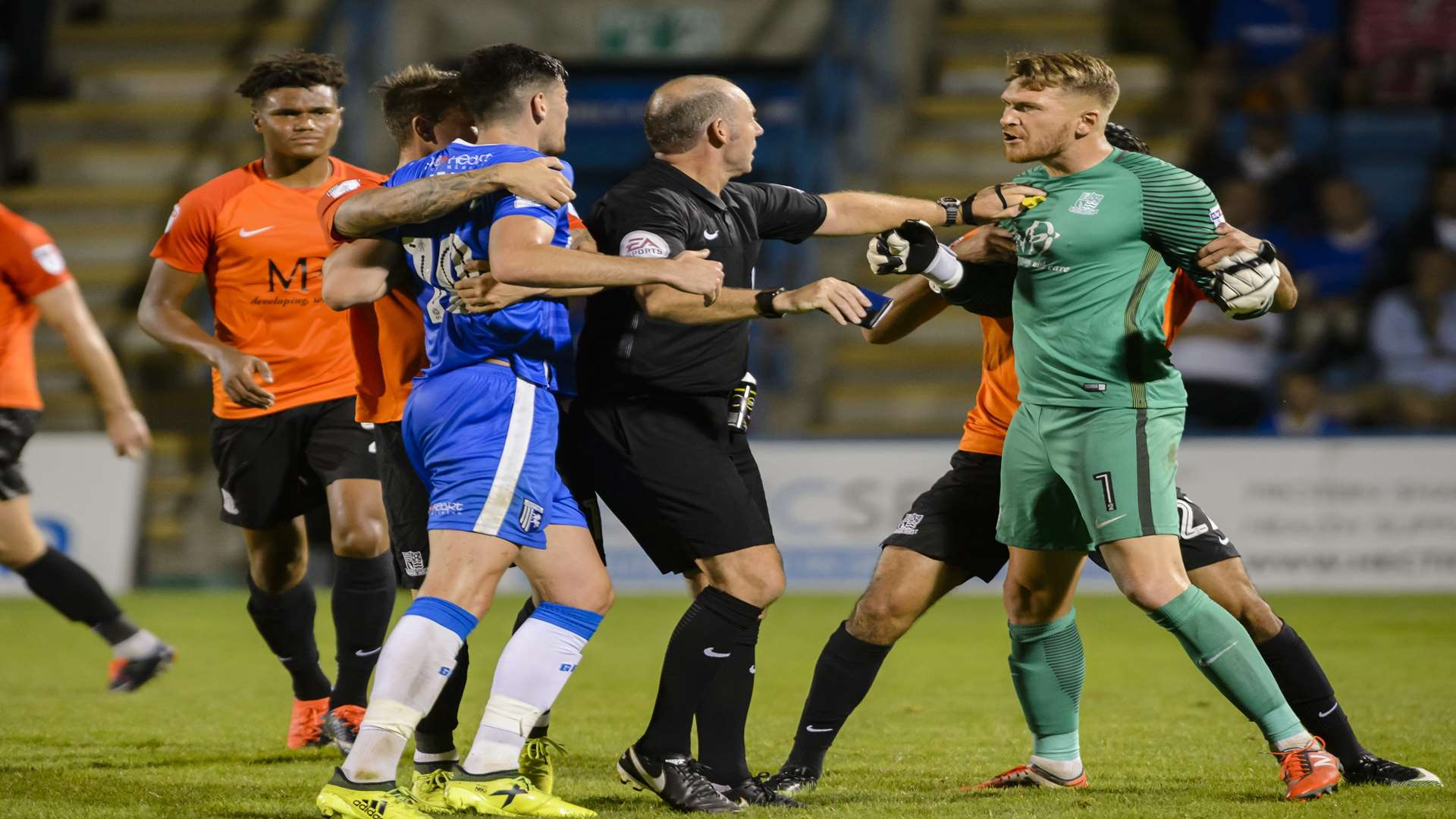 Conor Wilkinson got a yellow card for a late challenge on the Southend keeper Picture: Andy Payton