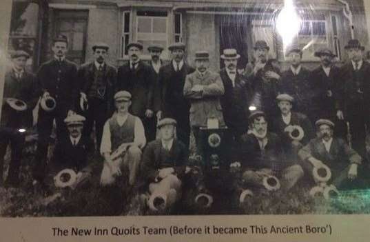 Caps and hats were clearly in fashion when this one was taken – the Quoits team from the New Inn (before it was re-named This Ancient Boro')