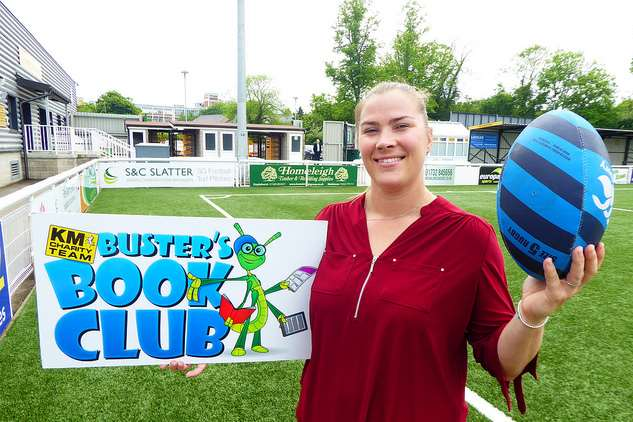 Former Women's England Rugby Team Captain Catherine Spencer is supporting the Buster's Book Club home reading scheme for schools.