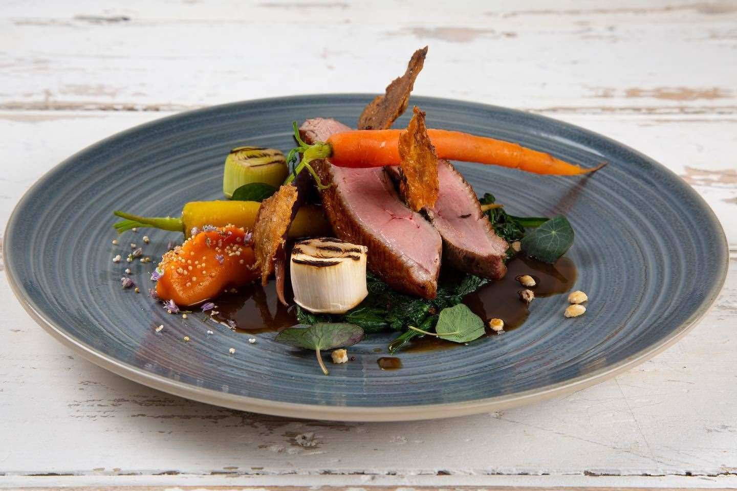 Robbie's take on Duck a l'Orange - marmalade glazed duck and vegetables. Picture: Only Food and Courses