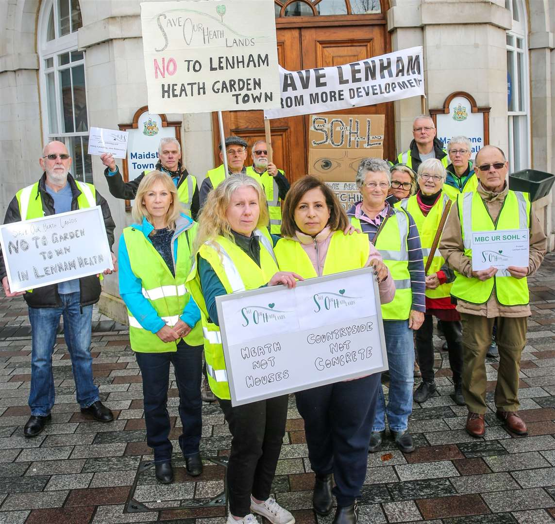 Campaigners oppose plans to build 4,000 homes to the east of Lenham Picture: Matthew Walker