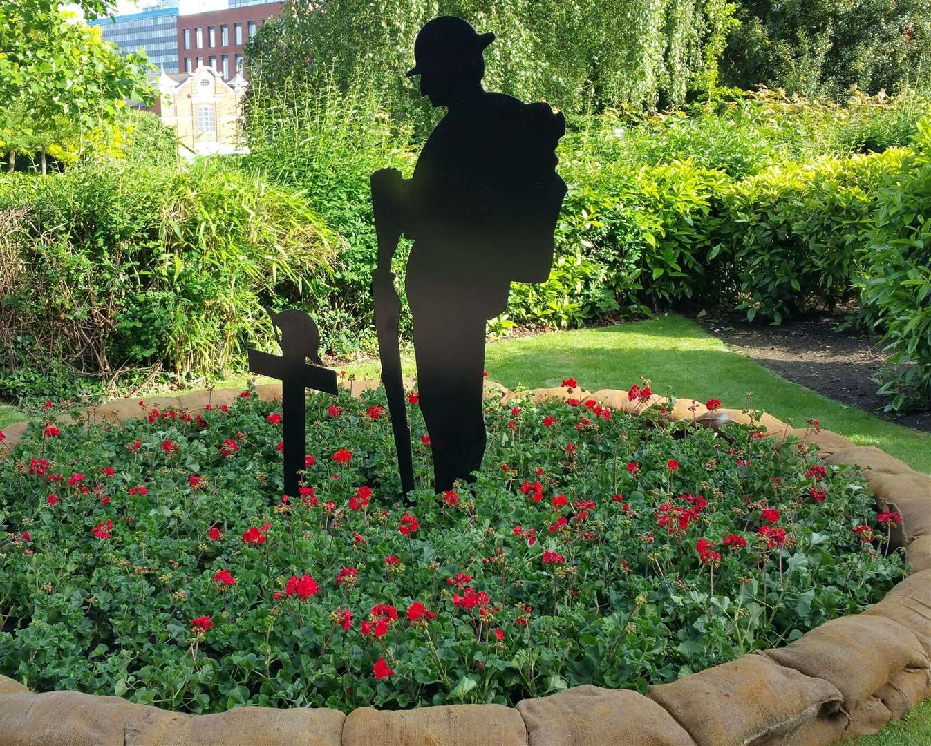 Soldiers' silhouettes like this one in the Memorial Gardens will be placed on the Flanders Roundabout