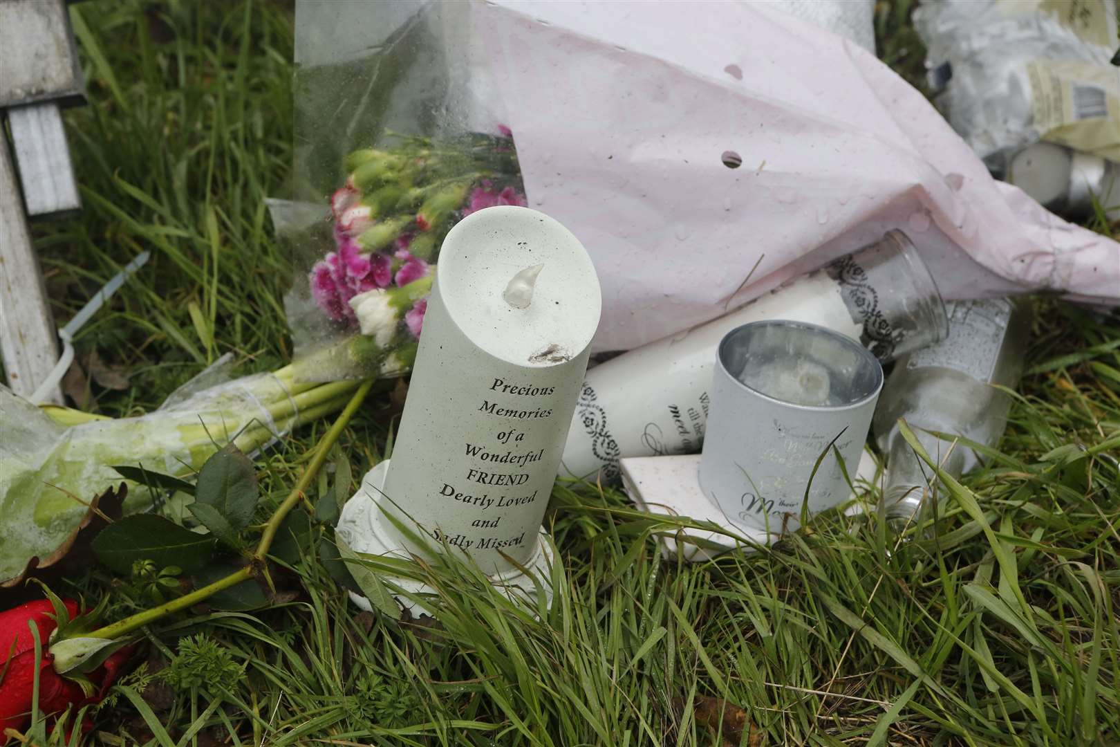 A shrine in memory of Franky Bryan who was hit and killed by a car on the A2