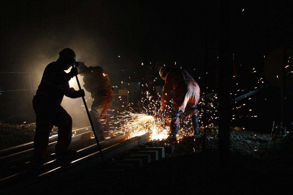 Network Rail crews at work upgrading the line. Picture: Chris Denham, Network Rail.