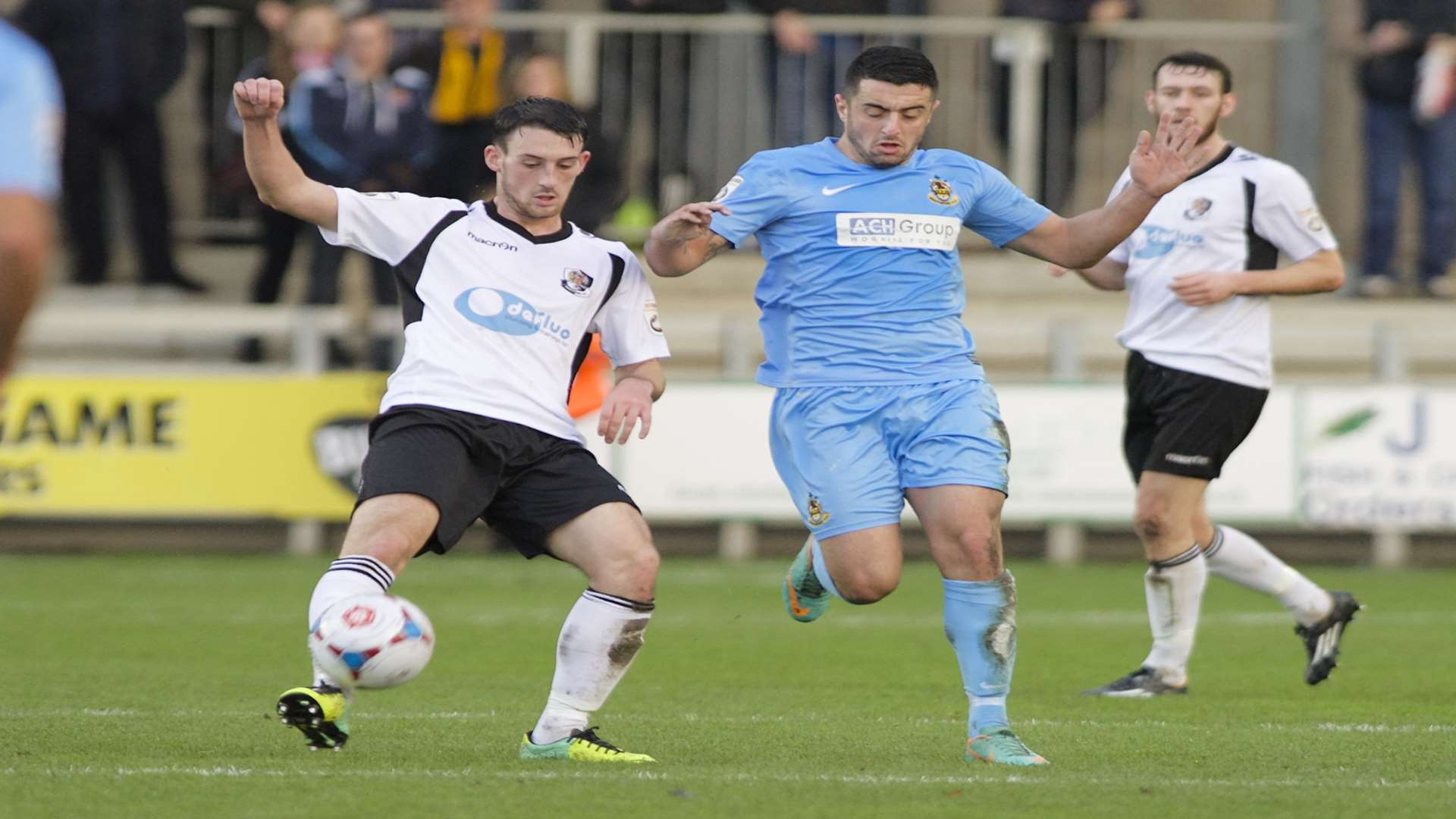 Callum Driver (left) in action for Dartford against Southport Picture: Andy Payton