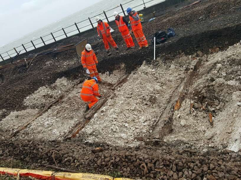 The rail repair works at the Dover sea wall at Shakespeare Beach in its first weeks, last February. Picture, Chris Denham.
