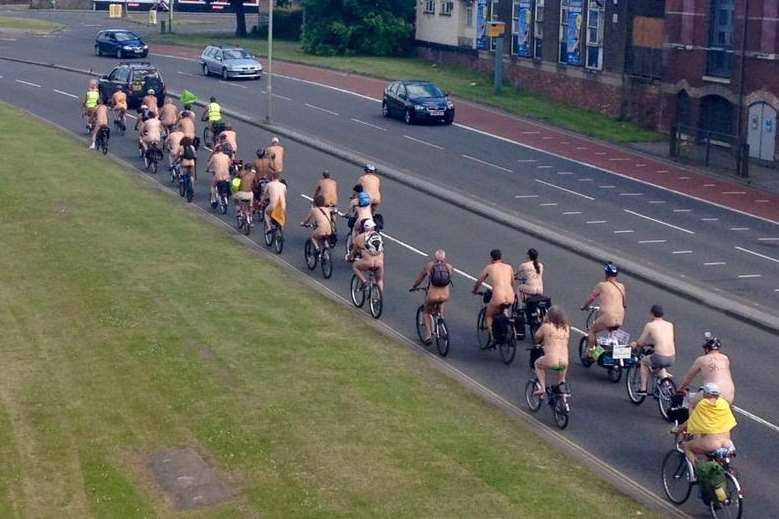 The bare bikers ride along the ring road. Photo: Kent 999s