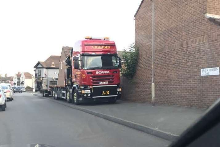 This HGV was parked on the whole of this stretch of pavement in Golf Road, Deal, just metres away from Sandown School