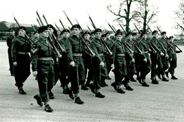 Richard Vaughan at his passing out parade in 1961 (second from left, front row). Picture: RAPC