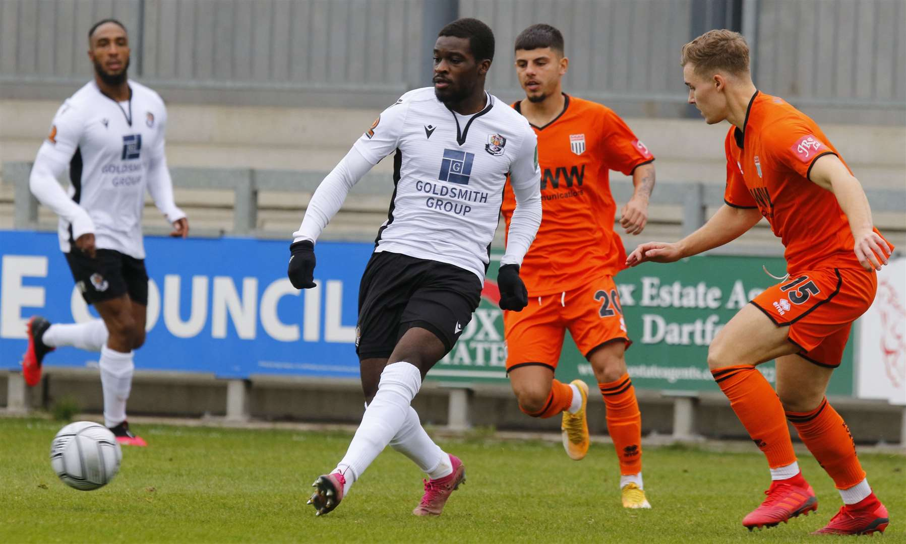 Jacob Berkeley-Agyepong on the ball for Dartford against Bath. Picture: Andy Jones (42742924)