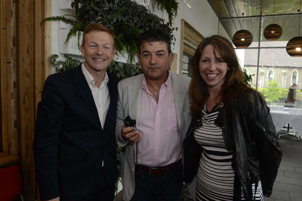 Panto directors Paul Hendy and Emily Wood with actor John Altman