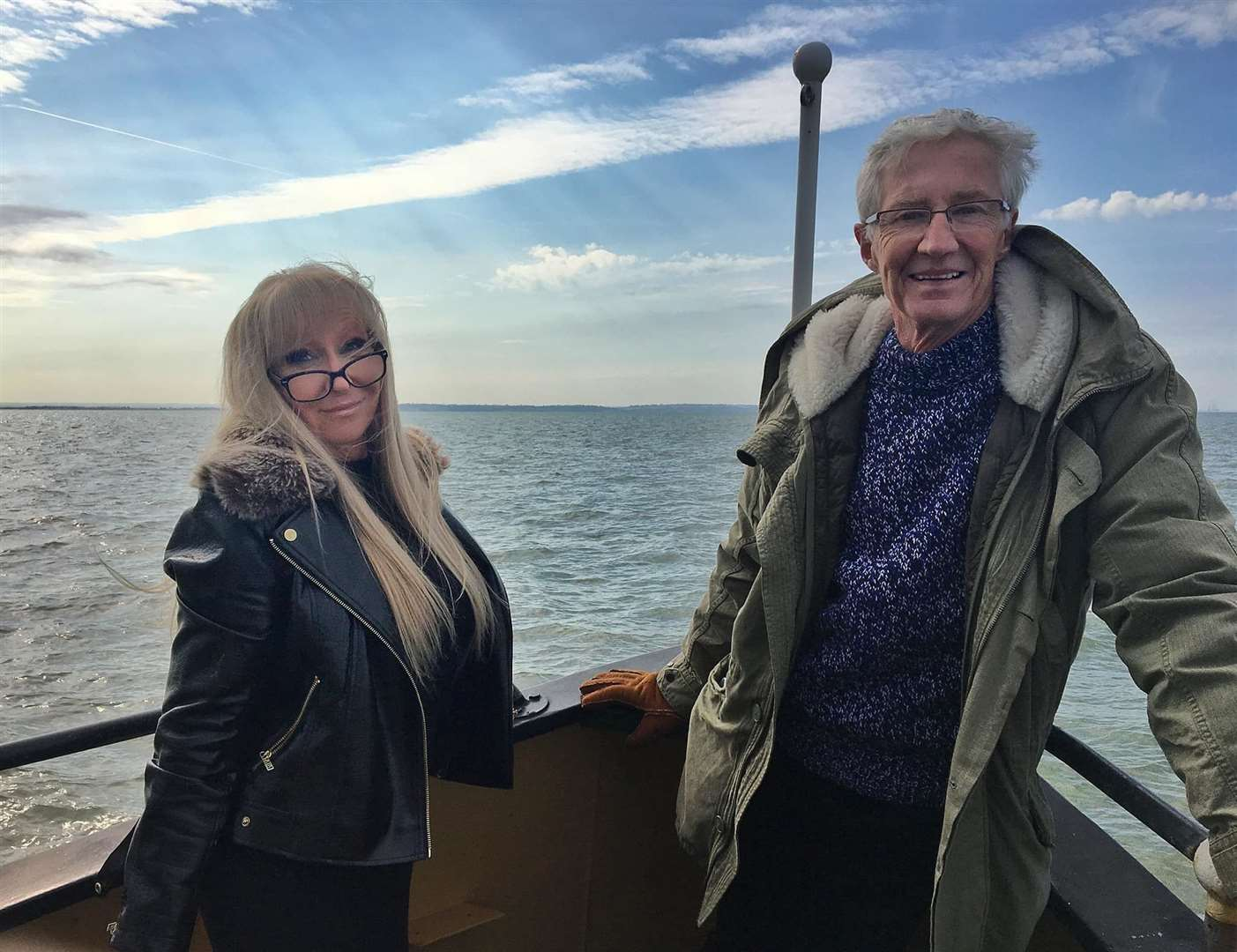 Margaret Flo McEwan heading to the Second World War Maunsell sea forts from Sheppey with Paul O'Grady for a TV programme