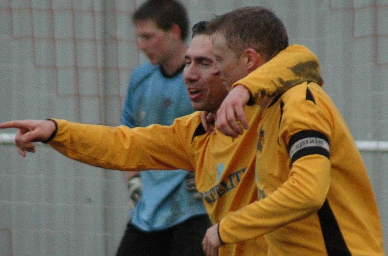 Simon Austin celebrates scoring Maidstone's fourth goal in a match against Croydon in 2007 Picture: Steve Terrell