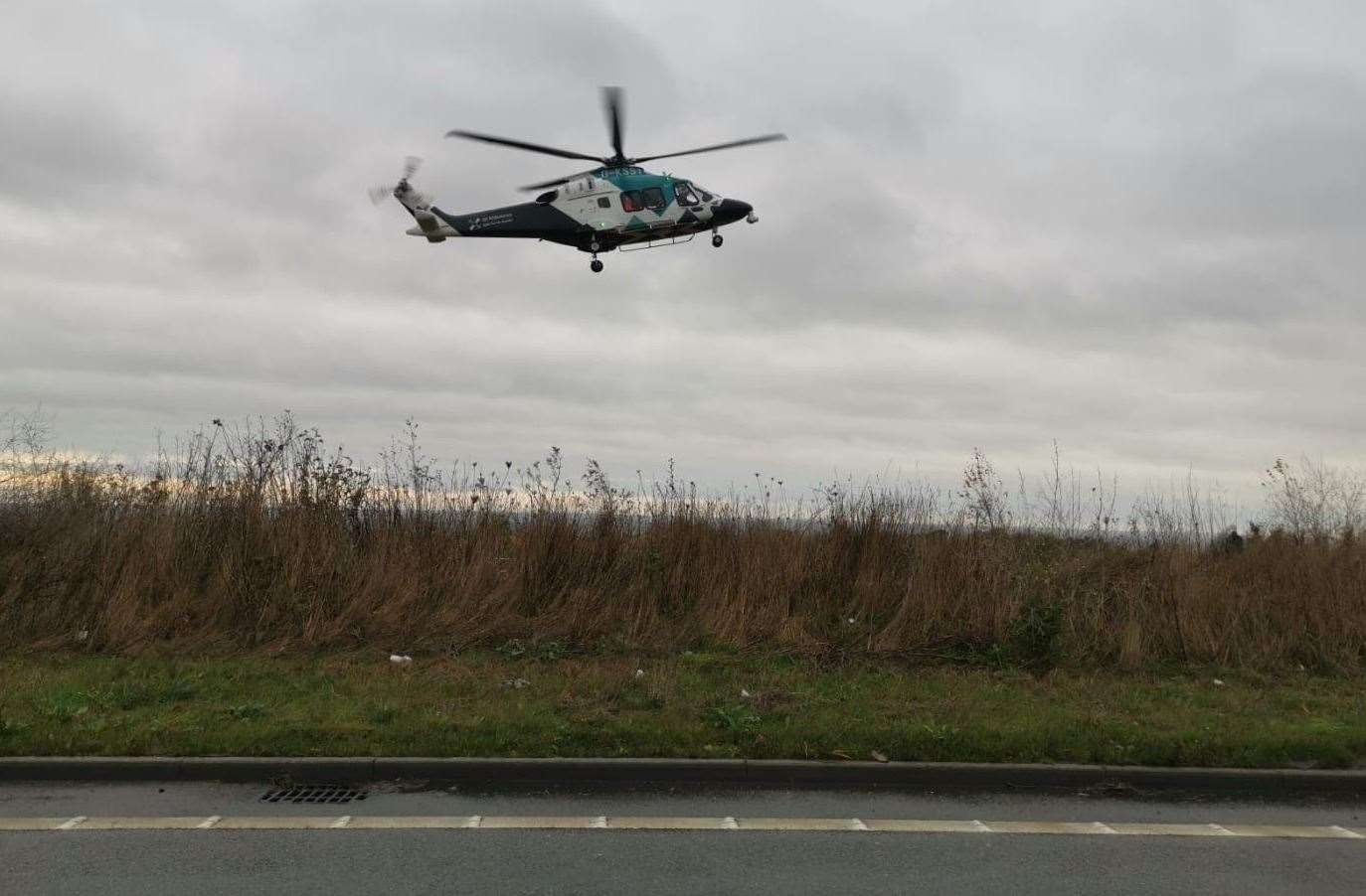 Air ambulance landed at the A299