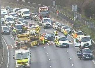The crash on the M25 approaching the Dartford Crossing. Picture: Highways England (6598013)