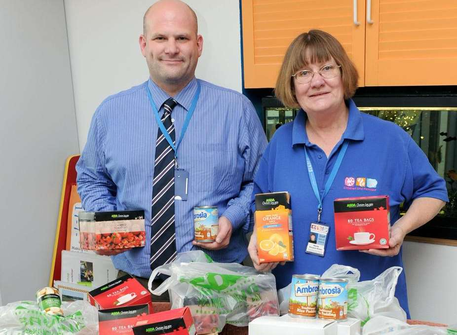 Jim Duncan and Wendy Simpson-Brown with the donated food at Seashells, Sheerness