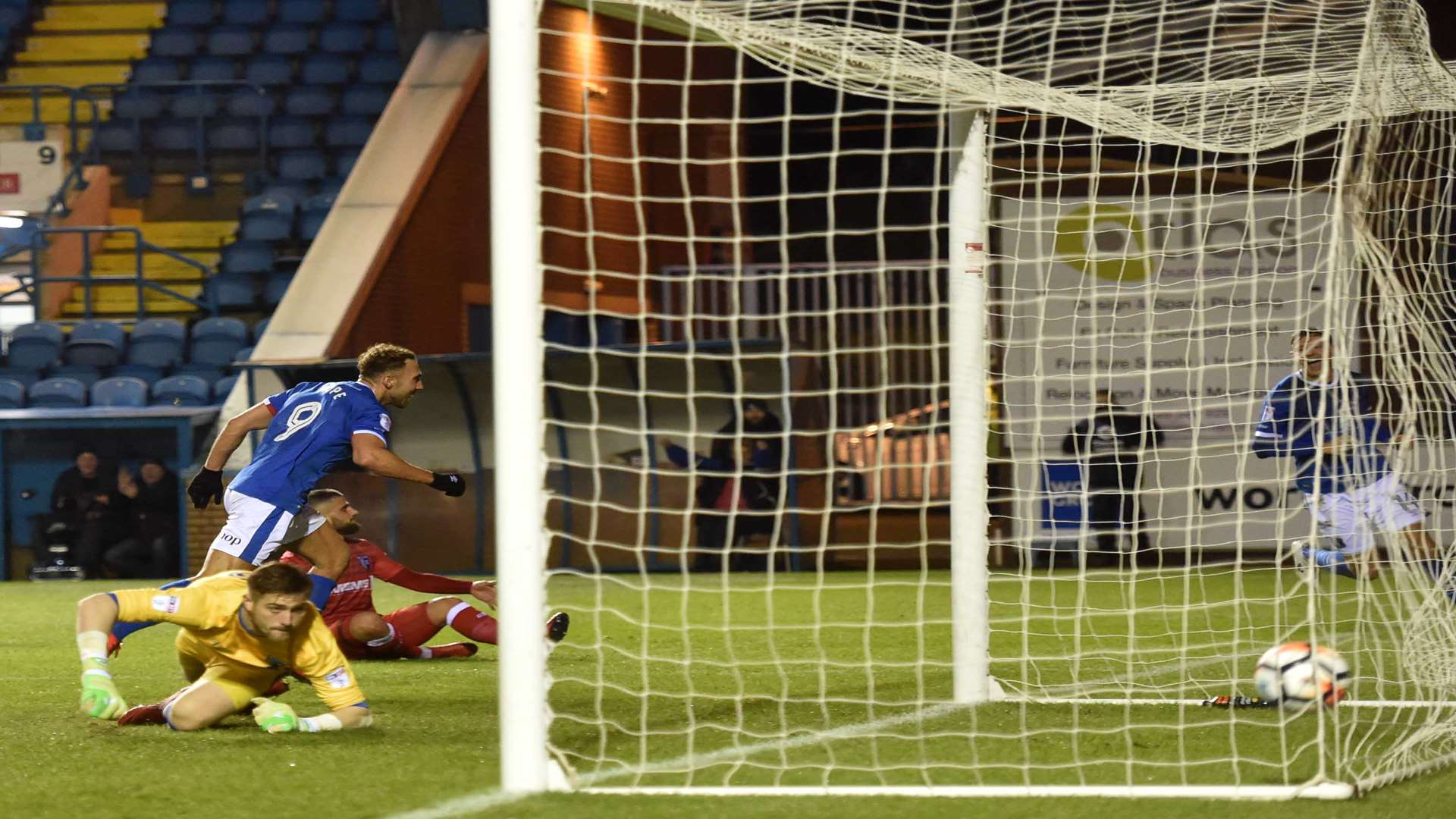 Gills keeper Tomas Holy can only watch on as Hallam Hope scores for Carlisle. Picture: Stuart Walker