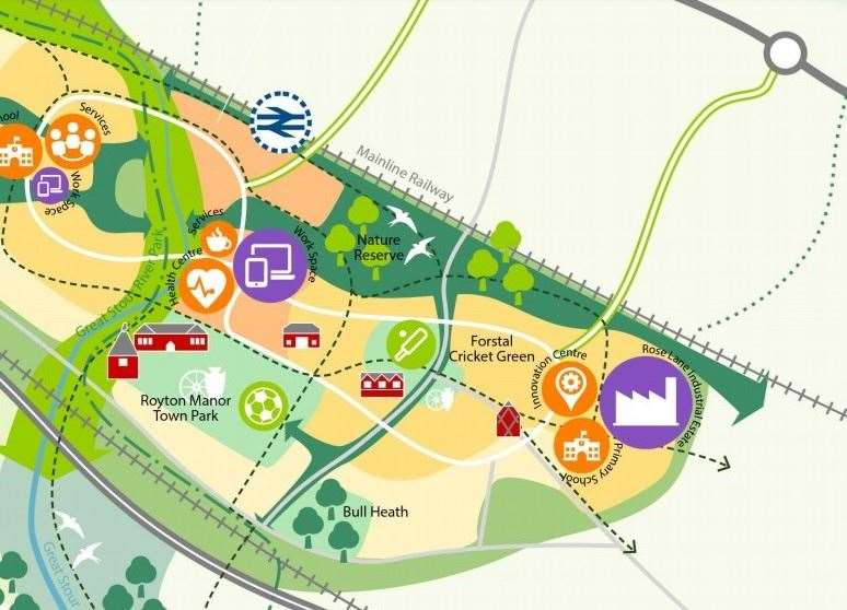 A graphic showing the proposed layout of the Heathlands Garden Community in Lenham. Picture: Maidstone Borough Council