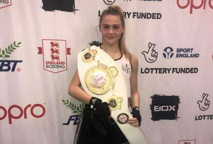 St Mary's boxer Jacey Birch with her belt (7423465)
