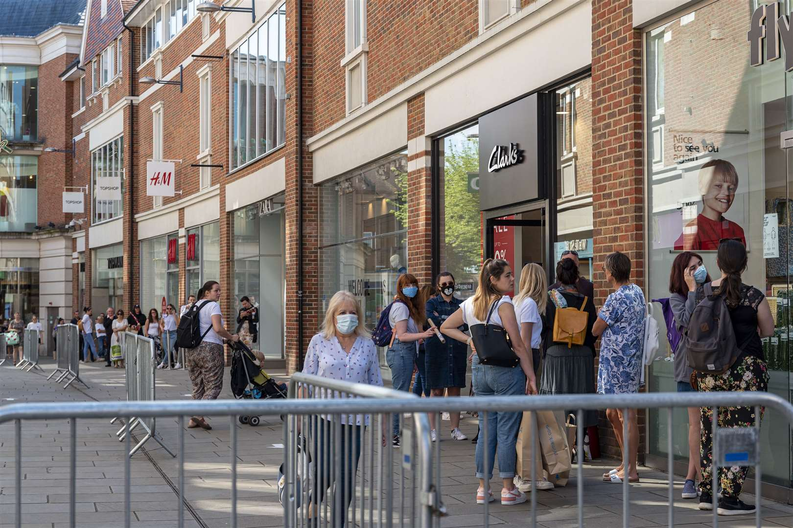 Queues in Whitefriars, Canterbury, while shops reopened after the coronavirus stopped. Image: Jo Court
