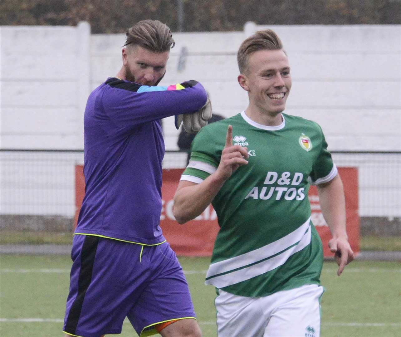 Sam Corne celebrates one of his two goals for Ashford Picture: Paul Amos