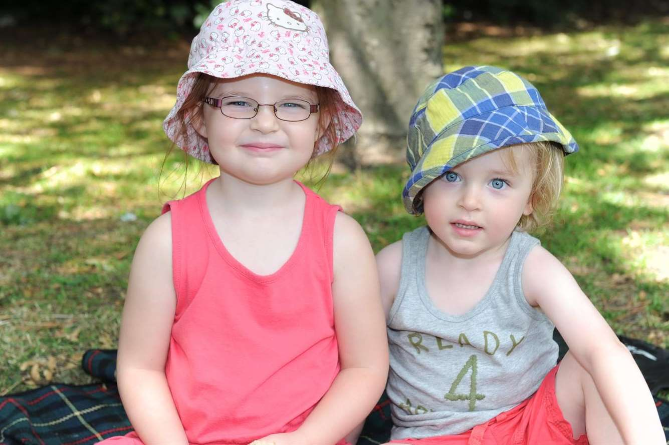 Little Molly and Nelson Cooper enjoy the shade at Central Park in Dartford