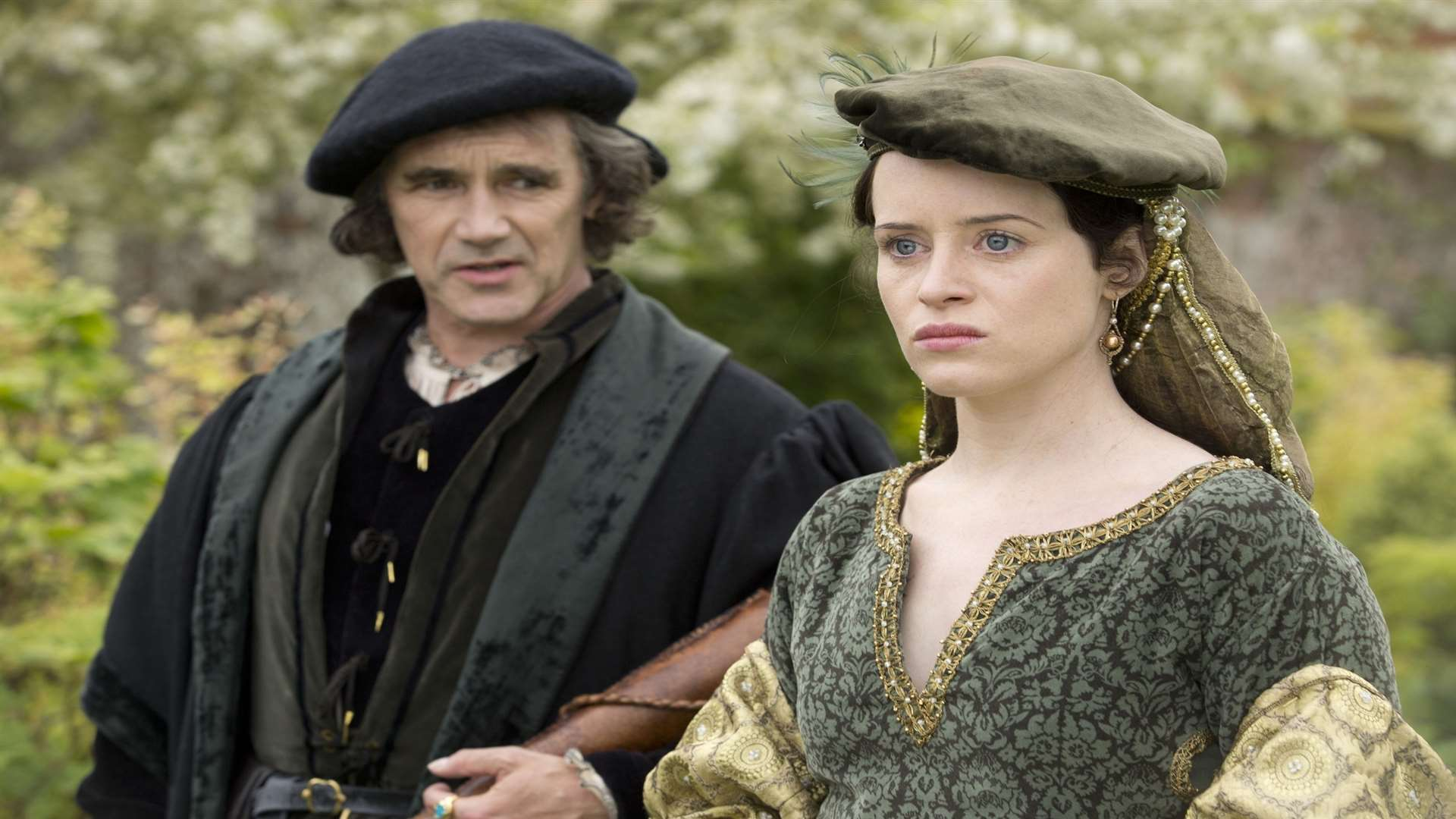 Mark Rylance in a scene with Claire Foy as Anne Boleyn, in the BBC drama Wolf Hall, filmed at Penshurst Place