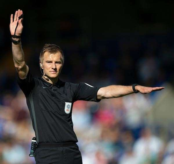 Referee Michael Salisbury gave one penalty for Tranmere but not one for Gillingham Pictrue :Ady Kerry (16255319)