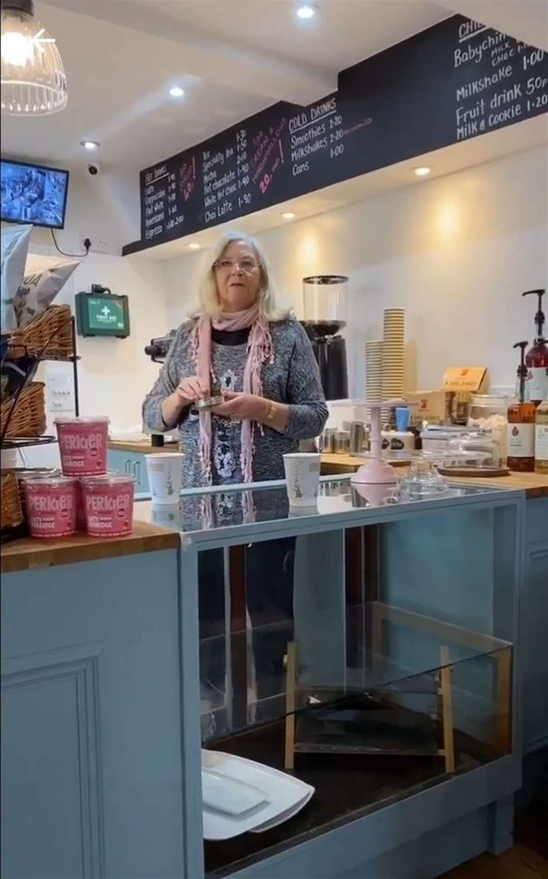 The Rev Cindy Kent blesses Bosuns new tea room and coffee shop at Queenborough